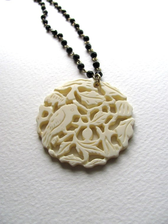 ON SALE: Oversized ivory flower and bird pendant necklace- upcycled vintage jewelry by MSV