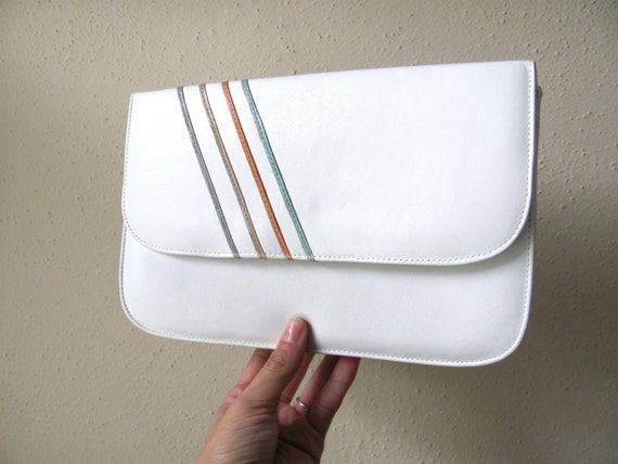 White genuine leather crossbody bag with pastel stripes, 1980s