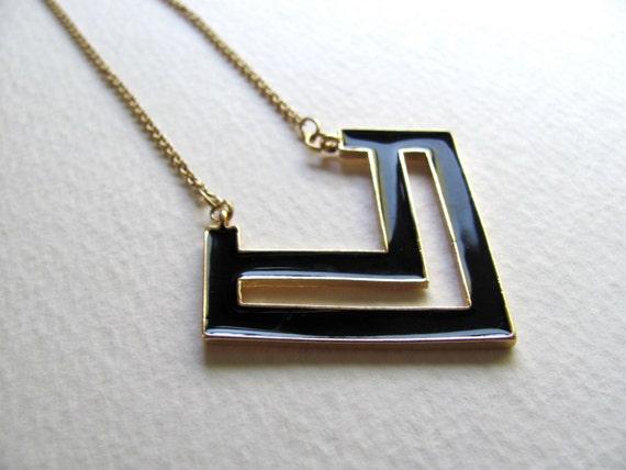 Long black enamel chevron pendant necklace, vintage inspired, geometric, 14k gold plate chain