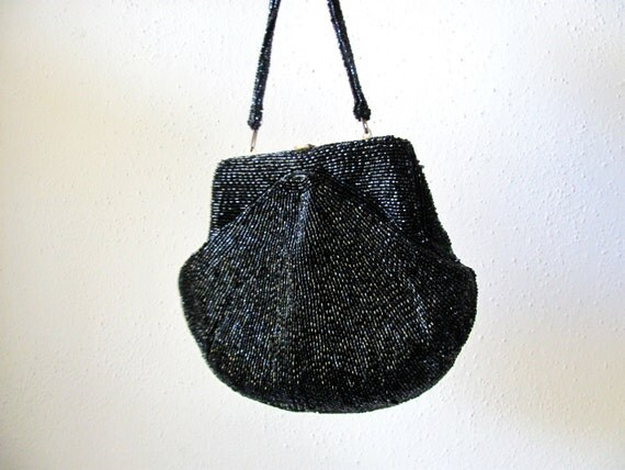 ON SALE: Black beaded evening bag by Walborg, sparkling caviar beads