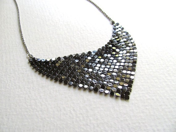 Gunmetal silver sequin bib necklace, vintage inspired,  mesh triangle pendant