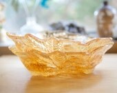Carnival Glass Bowls, Marigold Color, Blackberry Pattern, Warm Fall Decor
