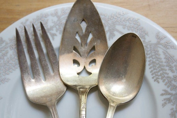 Silverware Serving Pieces, Set of 3, Shabby Chic, On Sale