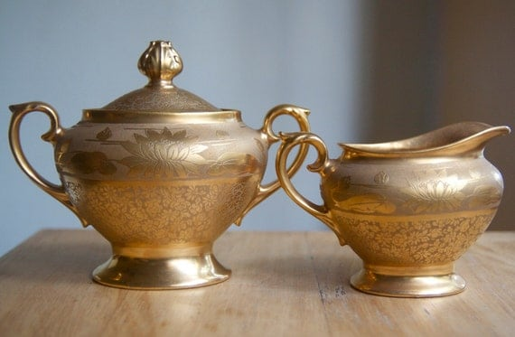 Gold Cream and Sugar Set, Osborne Water Lilies, Art Deco Decor