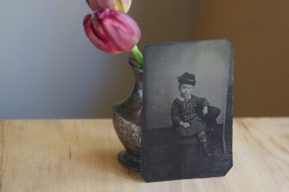 Tintype: Sweet Faced Boy, With A Hat, Fall Decor