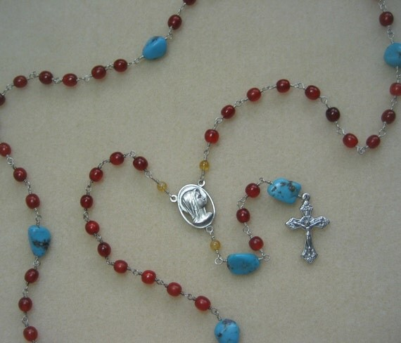 Red and Turquoise Rosary