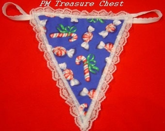 Womens CHRISTMAS CANDY CANE G-String Thong Lingerie Panty Underwear