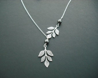 Sterling Silver Chain - branch and pearl necklace