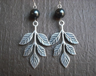 branch and pearl earrings - sterling silver ear wires
