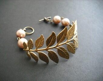 Bracelet, Raw Brass Bracelet, Pearl Bracelet, a touch of life bracelet