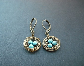 nest earring - antique brass