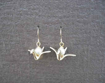 origami paper crane earrings - matte 16K yellow gold plated and 14K gold filled