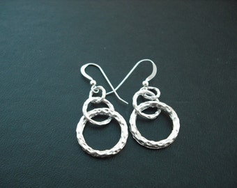 three rings earrings - matte white gold plated and sterling silver
