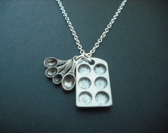 Sterling Silver Chain - muffin pan and measuring spoon necklace