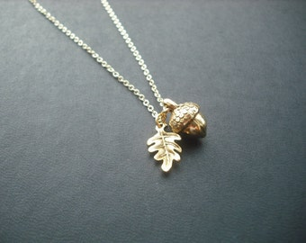 14k Gold Filled chain - a little acorn necklace
