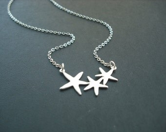 Sterling Silver Chain - Adorable Triple Starfish necklace