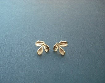 tiny leaf post earrings - matte 16K yellow gold plated and sterling silver post