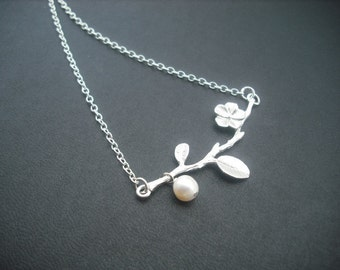 Sterling Silver Chain - matte white gold lovely branch necklace
