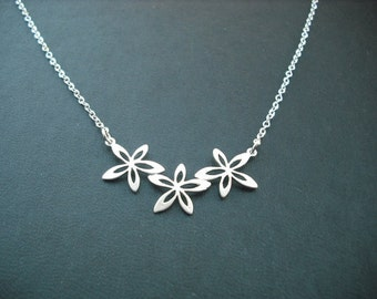 Sterling Silver Chain - triple flower pendant necklace