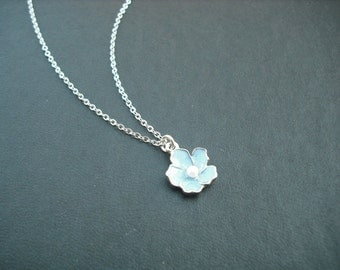 Sterling Silver Chain - Capri Blue  flower necklace
