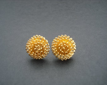 dandelion stud earrings - 16K gold plated and sterling silver post