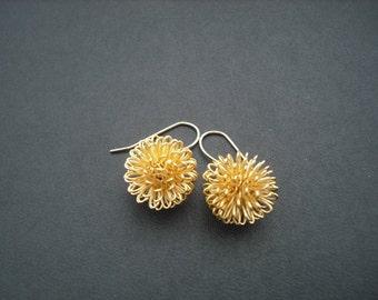 dandelion earrrings- 16k yellow gold plated