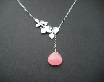 Sterling Silver Chain - tripple orchid flowers lariat with bubble gum pink mooth jade briolette