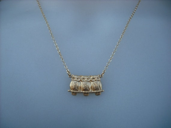14k Gold Filled chain - three baby owls necklace