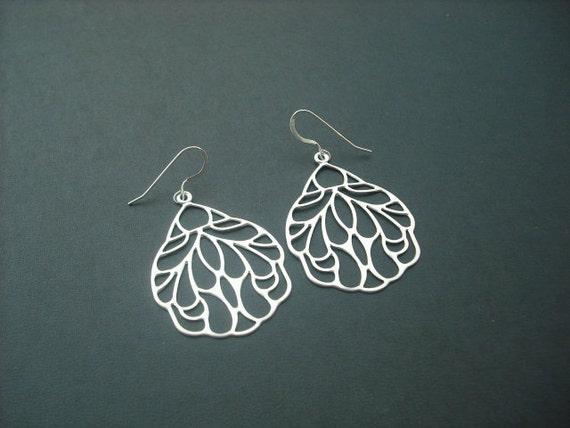 Art Nouveau Style Wing Pendant earrings - sterling silver ear wires