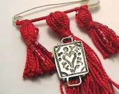 Red Kilt Pin Beaded Tassel Brooch with Sterling Silver Charm Love Always