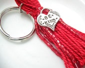 Red Beaded Tassel Keychain or Purse Charm: Hearts for You -- Be Kind