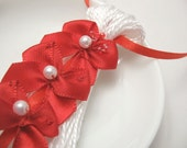 Red Bows on White Valentines Ornament Gift Decoration Tassel