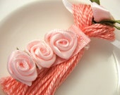 Pink Ribbon Rose Beaded Tassel Wedding Favor Spring Easter Ornament Gift Decoration Bling