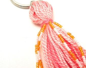 Sherbet Pink and Orange Beaded Tassel Keyring