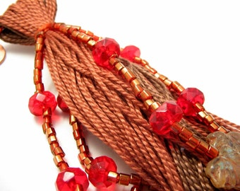 Fall Decor - Brown and Red Autumn Leaf Beaded Tassel - Fan Pull