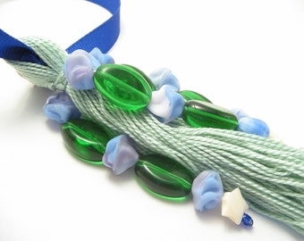 Green Blue White Star Home Decor Beaded Tassel