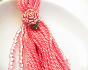 Rose Keyring or Purse Charm Beaded Tassel