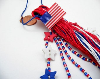 4th of July Patriotic Red White and Blue Beaded Tassel - Americana - United States of America - USA