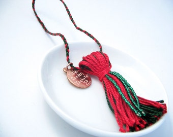 Red and Green Beaded Tassel Christmas Ornament