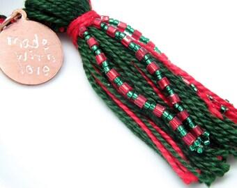Green on Red Beaded Tassel Christmas Ornament