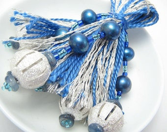 Blue and Silver Beaded Tassel Christmas Ornament