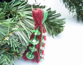 Dark Red and Green Color Blocked Beaded Tassel Christmas Ornament