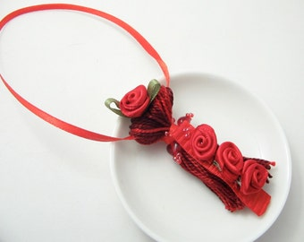 Red Ribbon Roses on Beaded Tassel Valentines Ornament Gift Topper Decoration Wedding Bling