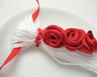 Red Ribbon Roses on White Beaded Tassel Valentines Ornament Gift Decoration Favor