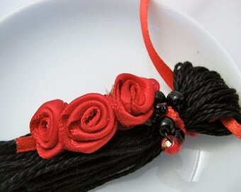 Red Ribbon Roses on Black Beaded Valentines Ornament Gift Decoration Tassel Dark Wedding