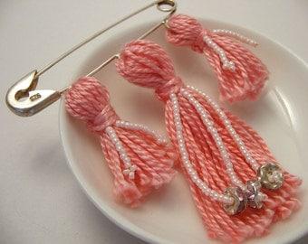 Kilt Pin - Pink Flower Beaded Tassel Brooch
