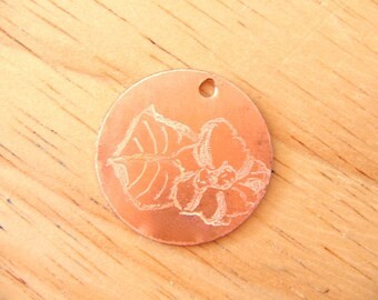 Primrose Engraved Copper Charm Pendant Tag