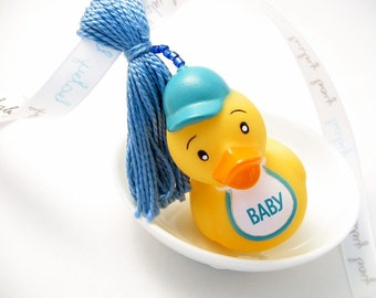 Baby Boy Baby Shower Decoration: Beaded Tassel with Blue Boy Rubber Duckie