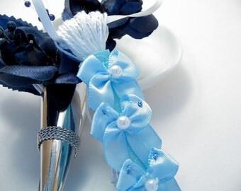 Blue Bows on Blue and White Wedding Spring Easter Decoration Favor Embellishment Tassel