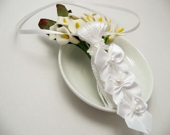 White Bows on White Wedding Spring Easter Decoration Favor Embellishment Tassel